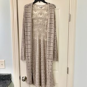 AEO Taupe Long Open Cardigan Macrame Crochet Large